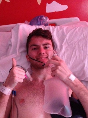 Stephen in his hospital bed.