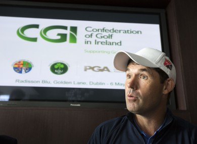Pádraig Harrington, three-time Major winner is pictured at the unveiling of the new Development Plan from the Confederation of Golf in Ireland (CGI)