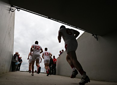 The Louth team enter the field against Westmeath on Saturday evening.