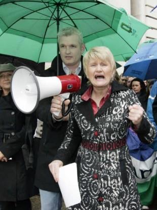 Marian Harkin protesting. File Photo.