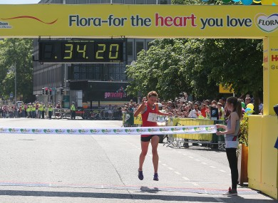 Siobhan O'Doherty celebrates victory in last year's Flora Women's Mini-Marathon.