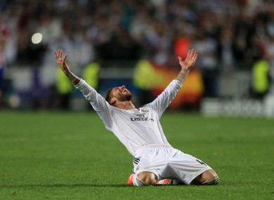 Sergio Ramos soaks in Los Blacos' 10th European Cup success.