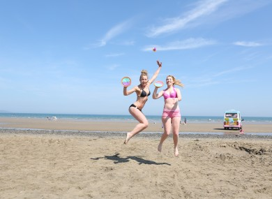Esther McGovern and Lynsey Fennell from Palmerstown Dublin enjoying the hot weather on Portmarnock beach last summer.