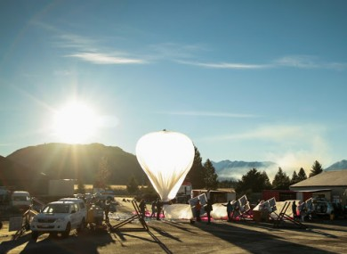 One of Google's Project Loon balloons getting ready for launch.
