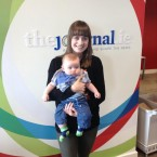 TJ reporter Michelle, who initially wrote about Sam, gets a cuddle.