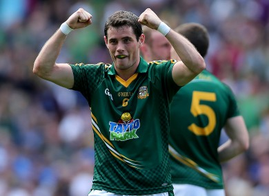 Meath's Donal Keogan celebrates at the final whistle in Croke Park.