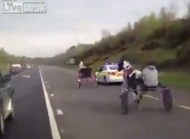 A file photo of a sulky race that had to be stopped by gardaí.