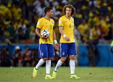 Brazil captain Thiago Silva and David Luiz at the end of the game.