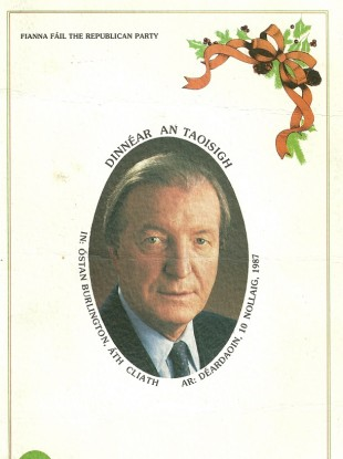 The frontpage of the programme for the 'Dinnéar An Taoisigh'