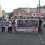 Hundreds of protesters march in Dublin this evening protesting against the ongoing conflict involving Palestine and Israel.<span class=