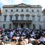 hundreds of protesters lie down in front of the Department of Foreign Affairs in Dublin this evening.<span class=