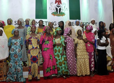 School girls who escaped abduction from the Chibok government secondary school attend a meeting with Nigeria President Goodluck Jonathan.