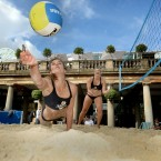 GB Beach Volleyball star Zara Dampney (left) dives to reach the ball as Lucy Boulton looks-on as they play on a pop-up beach volleyball court in Covent Garden, London.<span class=