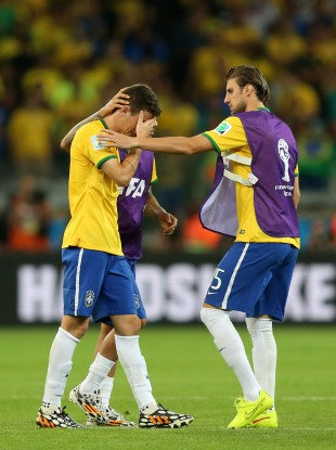 Brazil's Oscar in tears after they are eliminated.