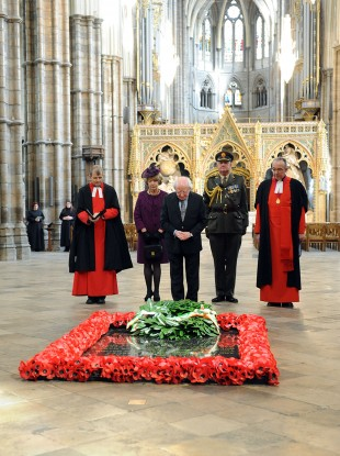 President Michael D Higgins visiting the unknown warrior memorial in Westminster Abbey.