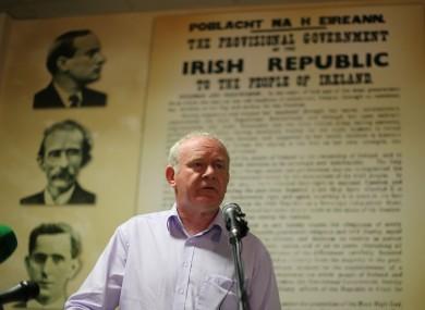 Martin McGuinness at the Rath Mór Sinn Fein Centre in Derry today.