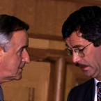 Reynolds with Labour leader Dick Spring at the launch of the National Plan in 1993.