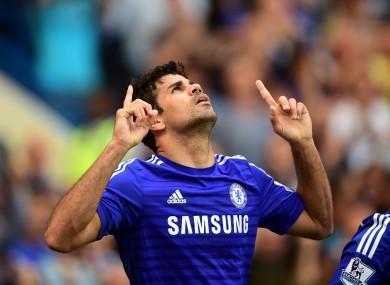 Diego Costa celebrates his second Premier League goal.