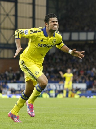 Costa scored twice for Chelsea yesterday against Everton.