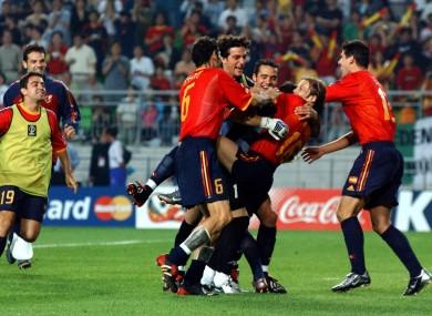Spain's Gaizka Mendieta celebrates after he scoring the winning penalty against Ireland.