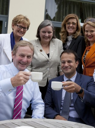 Taoiseach Enda Kenny and Minister for Health Leo Varadkar make up over a cuppa during a coffee break during day two of the annual Fine Gael Think-In.