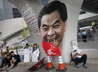 Hong Kong's chief executive Leung Chun-ying lampooned by protesters.