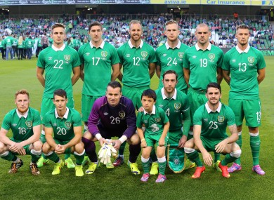 Keogh (second from right, front row) captaining Ireland.