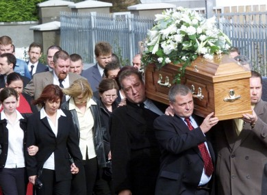 The funeral procession of Sunday World journalist Martin O'Hagan in October 2001.