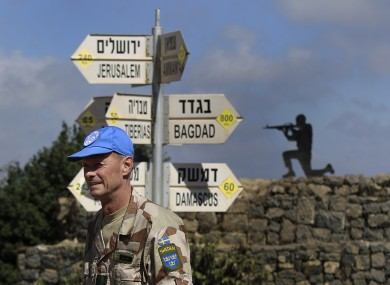 UN peacekeepers in the Golan Heights.