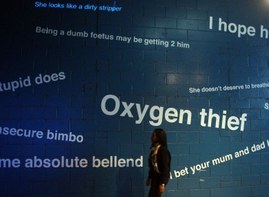 Charity vInspired launches a 'Trolls Under The Bridge' installation to highlight the negative effects that internet trolling has on people, at the IMAX Underpass, Waterloo, London. The writing is genuine quotes from the internet.