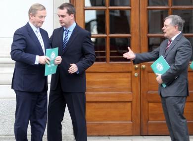 Enda Kenny, top civil servant Robert Watt and Brendan Howlin outside Government Buildings this week