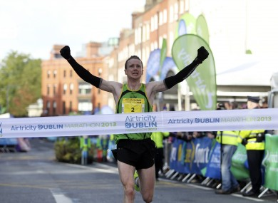 Sean Hehir, who won last year's marathon with a time of 2 hours 18 minutes.