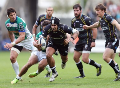 The Ospreys' Josh Matavesi bursts forward in his side's win over Treviso.