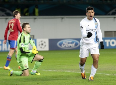 Aguero celebrating a goal against CSKA Moscow last season.