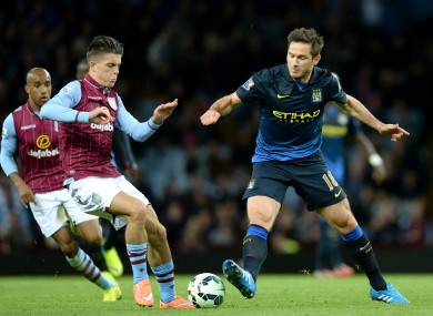 Grealish in action against Man City's Frank Lampard over the weekend.