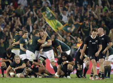 South Africa beat the All Blacks in a titanic clash at Ellis Park last weekend.