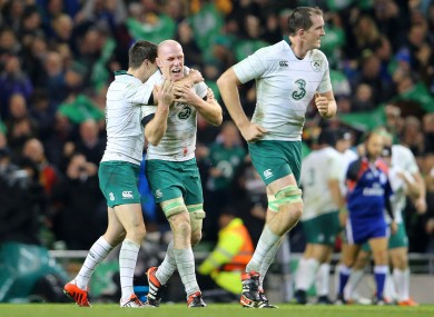 Johnny Sexton and Paul O'Connell celebrate Tommy Bowe's try.