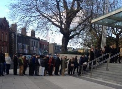 The queue outside the Central Criminal Court this morning due tight security due a former murder accused now giving evidence for the State.