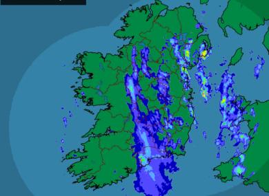 The latest rainfall rada at 7.30am
