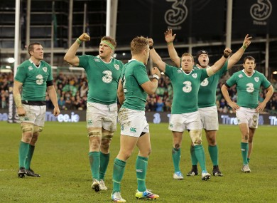 Ross and his Ireland teammates celebrate victory over the Wallabies.