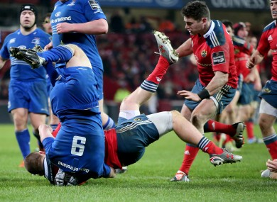 Isaac Boss fails to prevent Andrew Conway from scoring at Thomond Park.