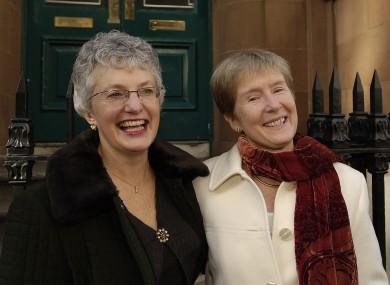 Katherine Zappone and Ann Louise Gilligan outside the High Court in 2006.
