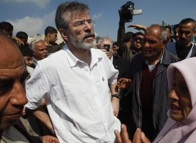 Adams on a visit to the Gaza strip in 2009