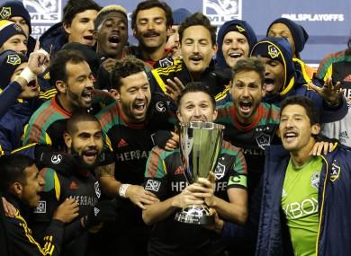 Keane and his Galaxy team-mates celebrate on Sunday night.
