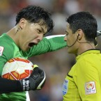 China goalkeeper Wang Dalei protests the decision to award a penalty to Saudi Arabia at the AFC Asia Cup.<span class=