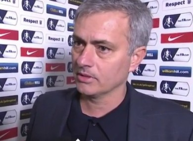 Mourinho talking after the final whistle.