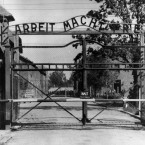 This undated file photo shows the main gate of the Auschwitz death camp.<span class=