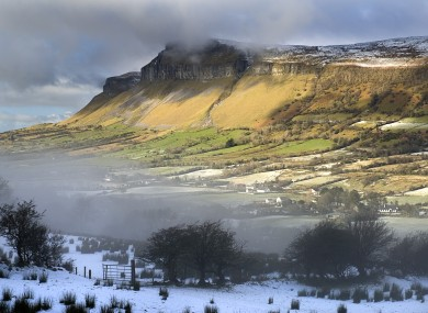 Glencar, Kings Mountain with mist and snow in the valley below.