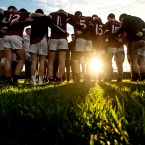 The NUIG team huddle after playing Mayo in the opening round of the Connacht FBD League.<span class=