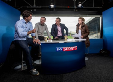 Sky Sports pundits Ollie Canning and Jamesie O'Connor with presenters Brian Carney and Rachel Wyse before last year's Kilkenny Offaly match.